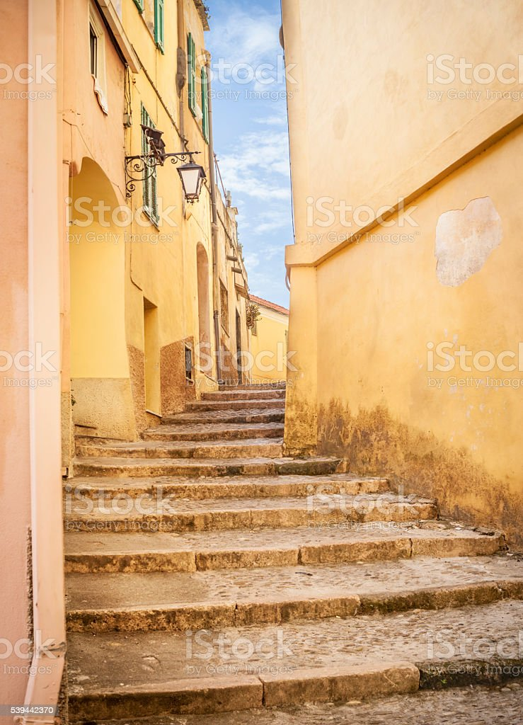 Alley In Medieval Village, Cervo stock photo