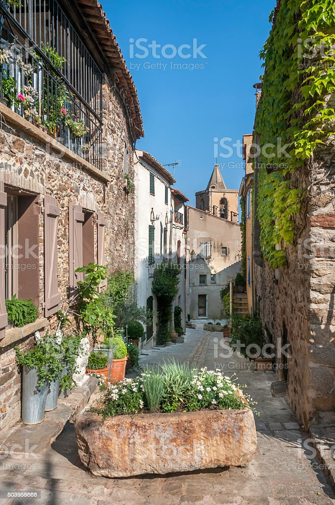 Alley in Old Grimaud stock photo