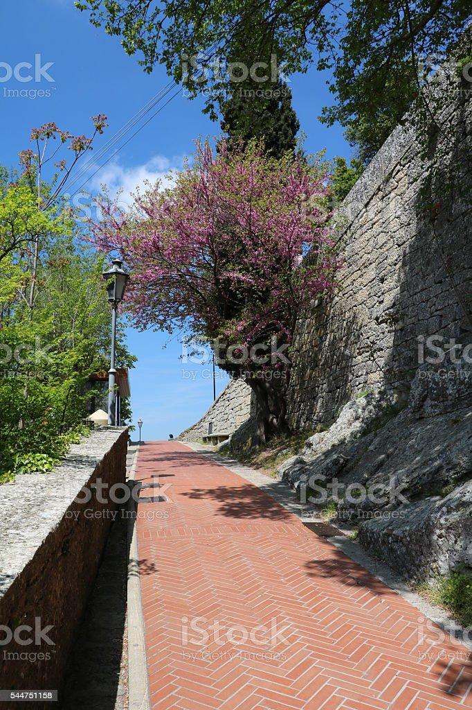 Alley in San Marino under blue sky in spring stock photo