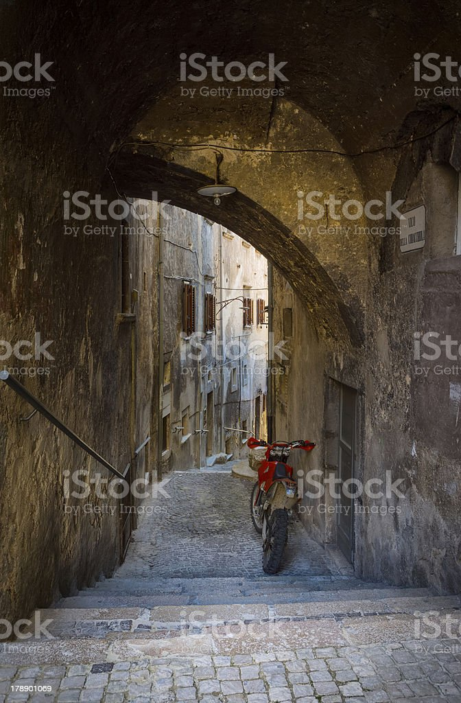 Alley in Scanno,  L'Aquila Province, Abruzzi Italy royalty-free stock photo