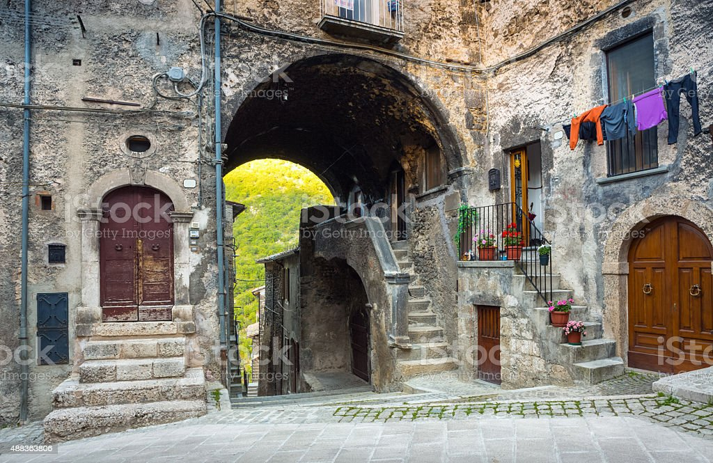 Alley in Scanno,  L'Aquila Province, Abruzzi Italy stock photo