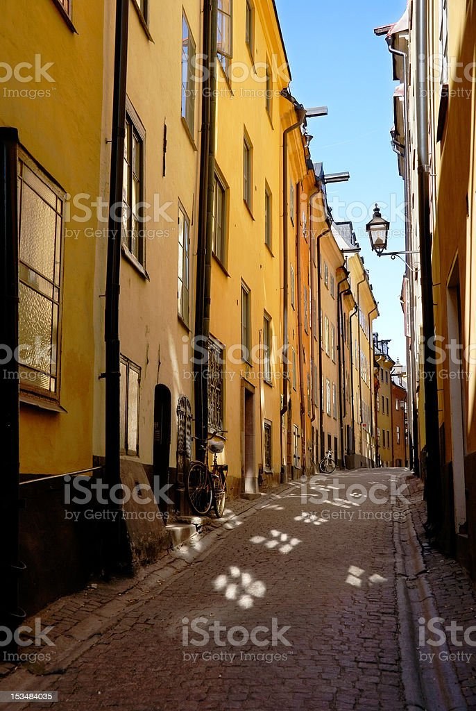 Alley in Stockholm's Old Town royalty-free stock photo