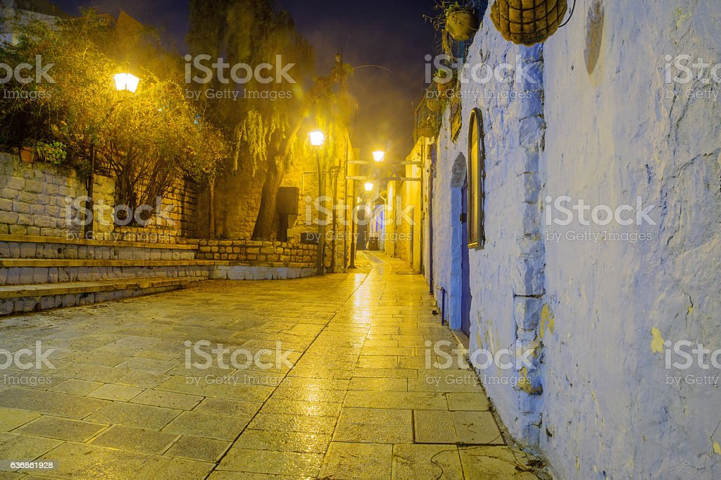 Alley in the Jewish quarter, in Safed (Tzfat) stock photo
