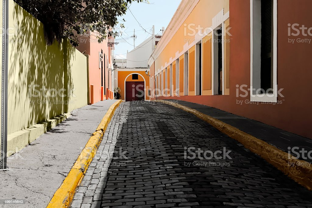 Alley In The Old City Of San Juan, Puerto Rico. stock photo