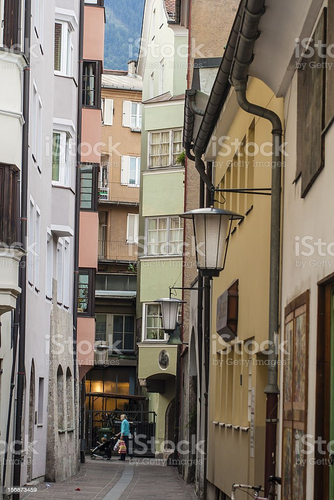 Alley in the old town of Innsbruck royalty-free stock photo