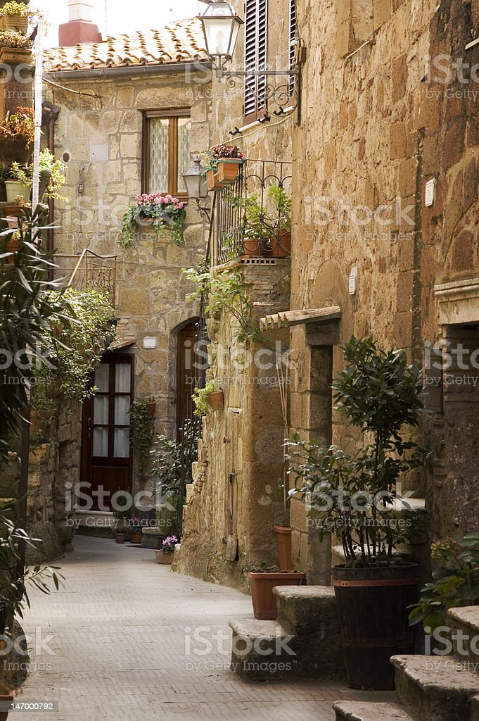 Alley in the Tuscany stock photo