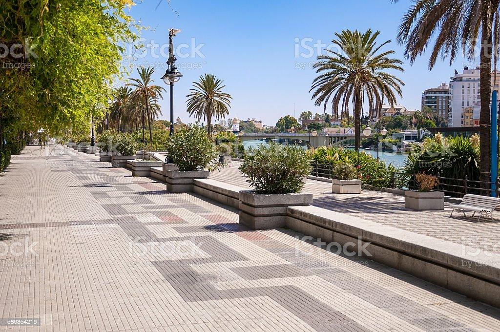 Alley on embankment of Guadalquivir River in Seville stock photo