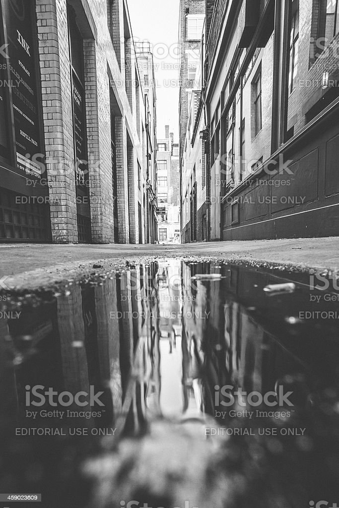 Alley reflection. royalty-free stock photo