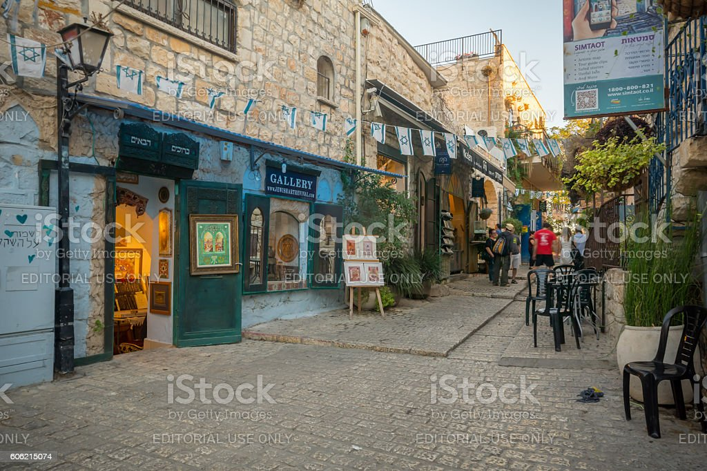Alley scene in Safed (Tzfat) stock photo