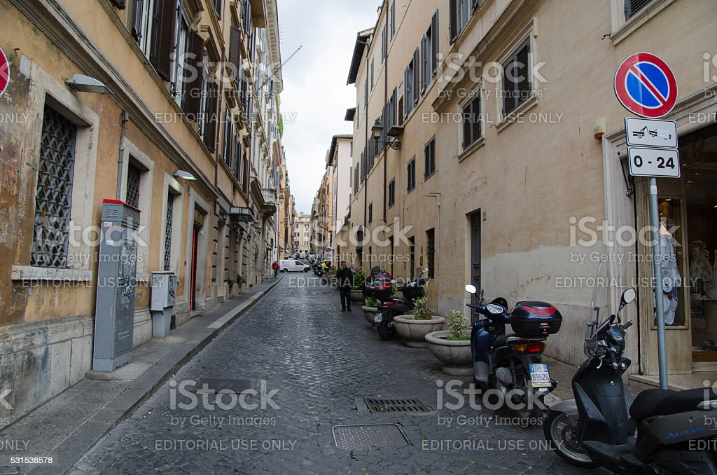 Alley view in Rome, Italy stock photo