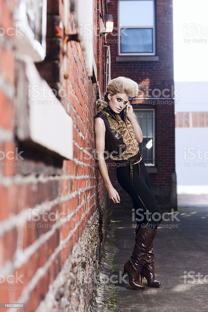 Alley Way with Beautiful Blond Fashion Model, Full Body royalty-free stock photo