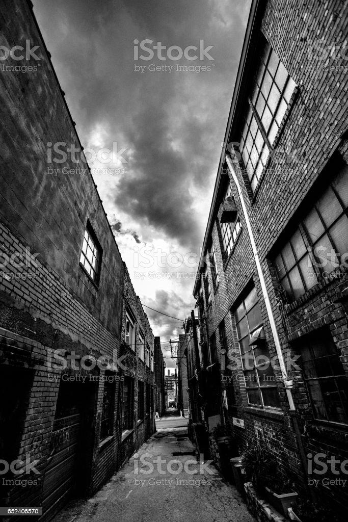 Alleys in Kansas City. Crossroads Art District. stock photo