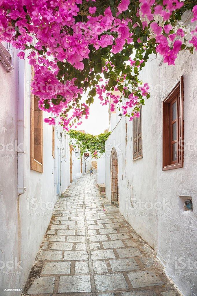Alleys of Lindos, Rhodes, Greece stock photo