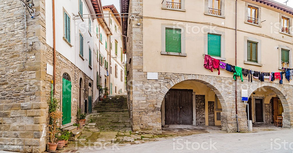 Alleys of mountain village in Tuscany stock photo
