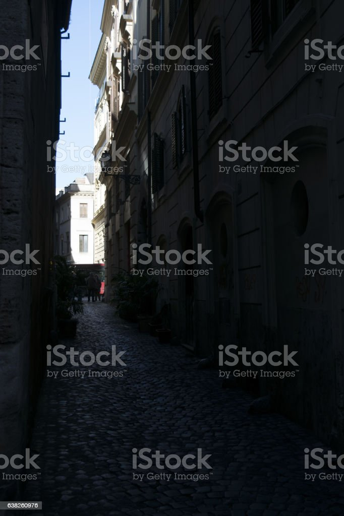 alleys of the historic center town of Rome stock photo