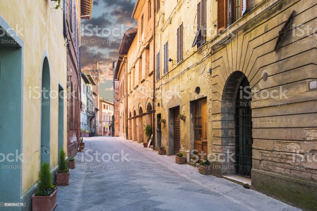Alleys the beautiful medieval town in Tuscany. stock photo