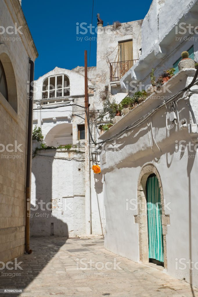 Alleyway. Ceglie Messapica. Puglia. Italy. stock photo
