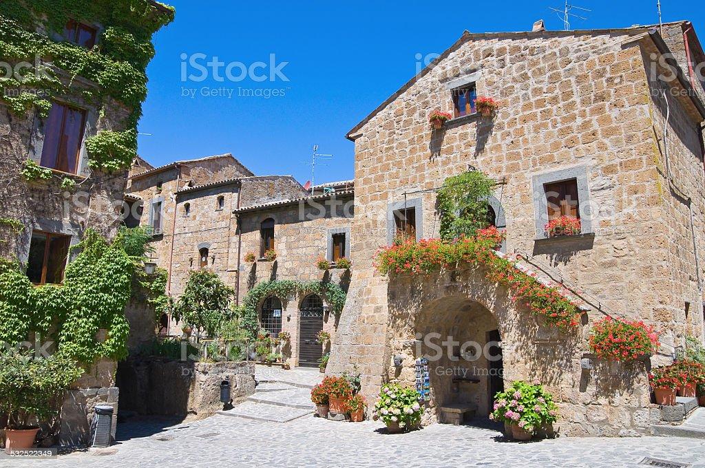 Alleyway. Civita di Bagnoregio. Lazio. Italy. stock photo