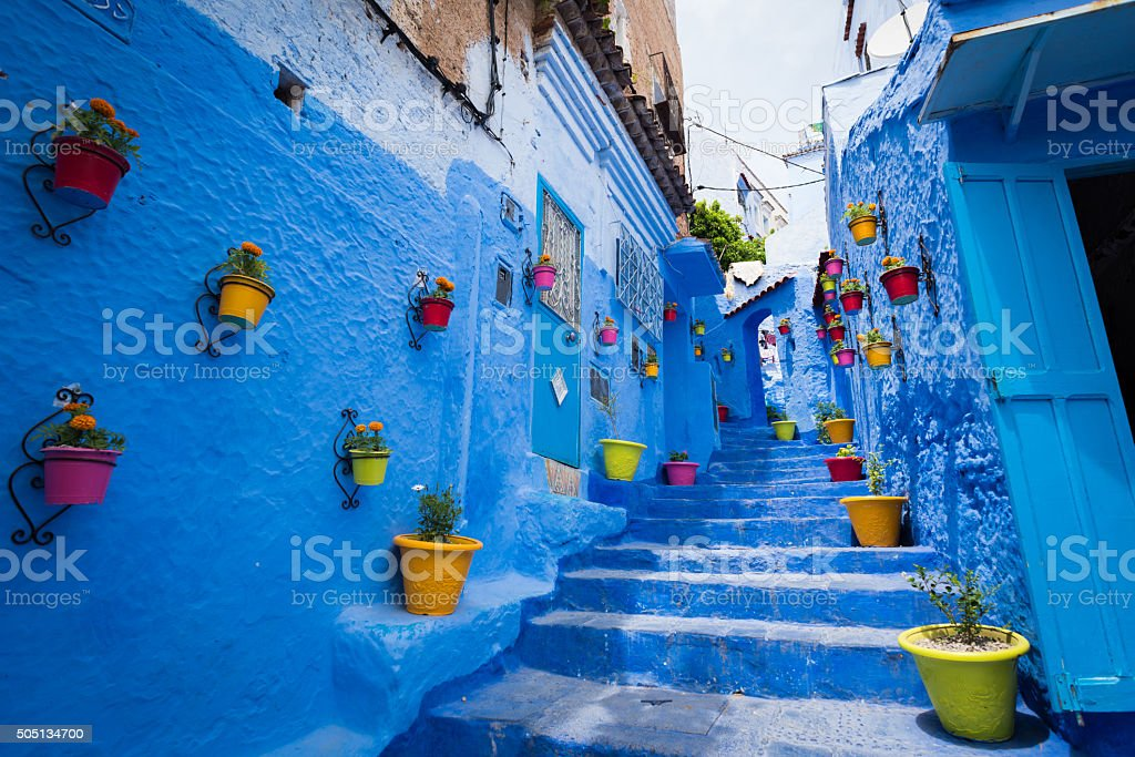 Alleyway in Chefchaouen, Morocoo stock photo