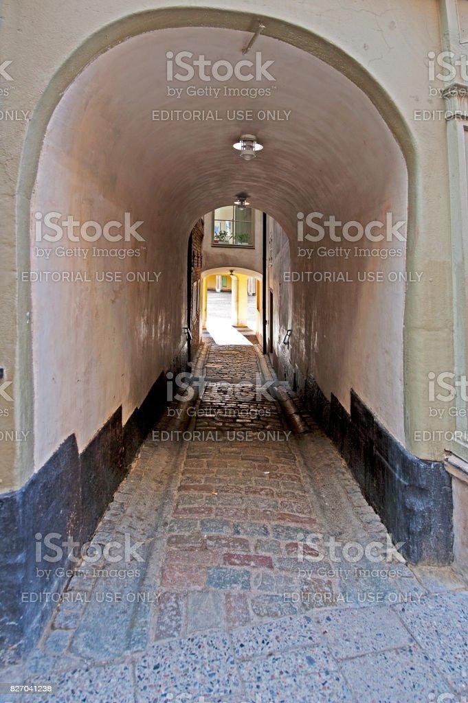 Alleyway in Gamla Stan, Stockholm, Sweden stock photo