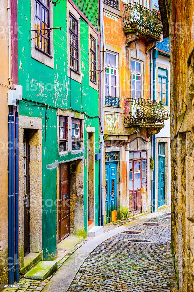 Alleyway in Porto, Portugal stock photo