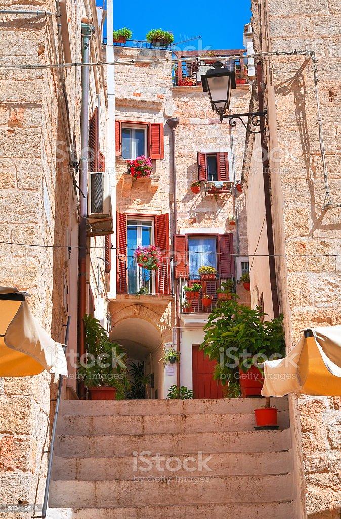 Alleyway. Polignano a mare. Puglia. Italy. stock photo