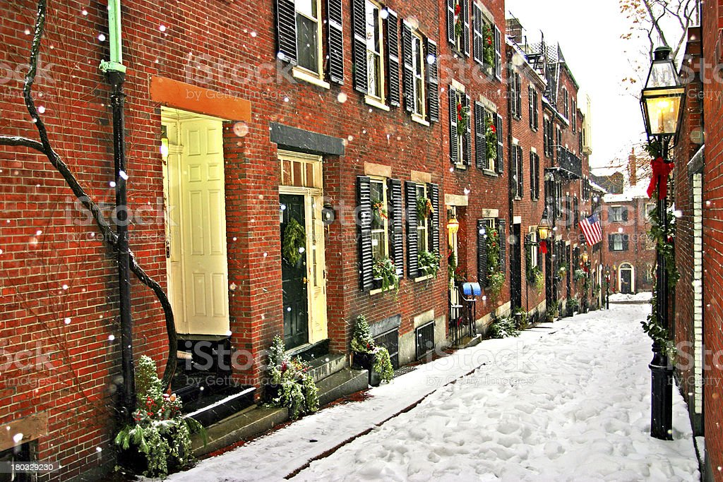 Alleyway view of a Boston winter royalty-free stock photo