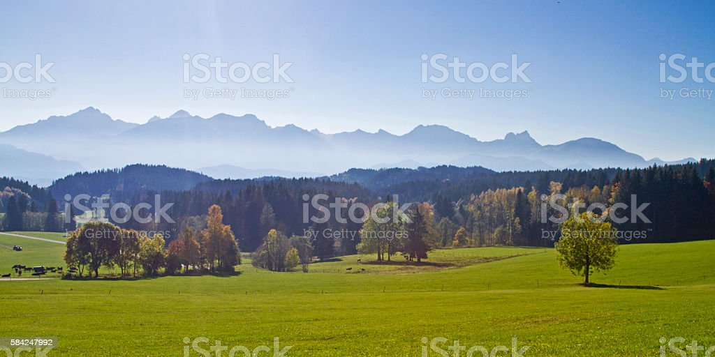 Allgaeu - idyllic landscape in Southern Germany stock photo