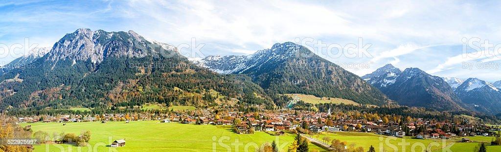 Allgau High Alps, Town of Oberstdorf and Ski Jump, Germany stock photo