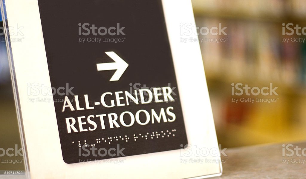 'All-Gender Restrooms' Sign (Close-Up) stock photo