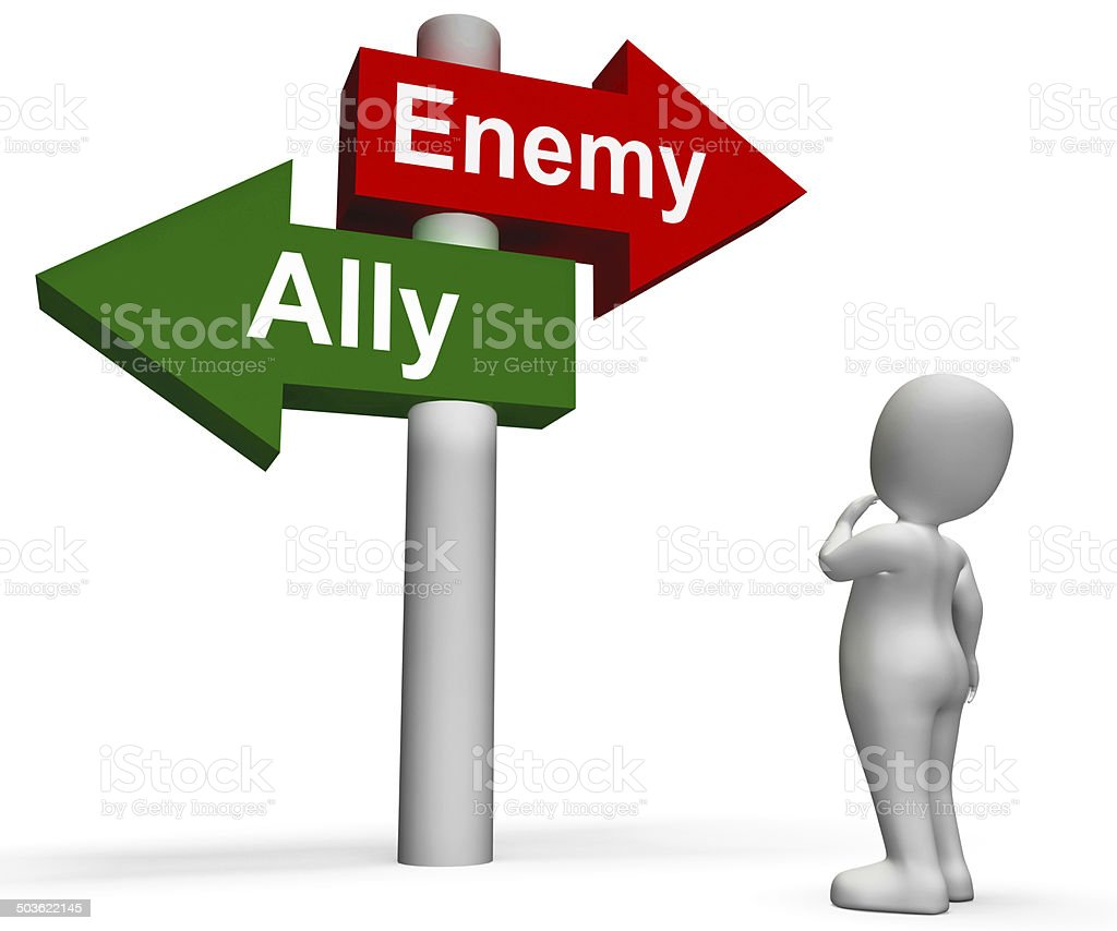 Allied Enemy Signpost Shows Friend Or Foe stock photo