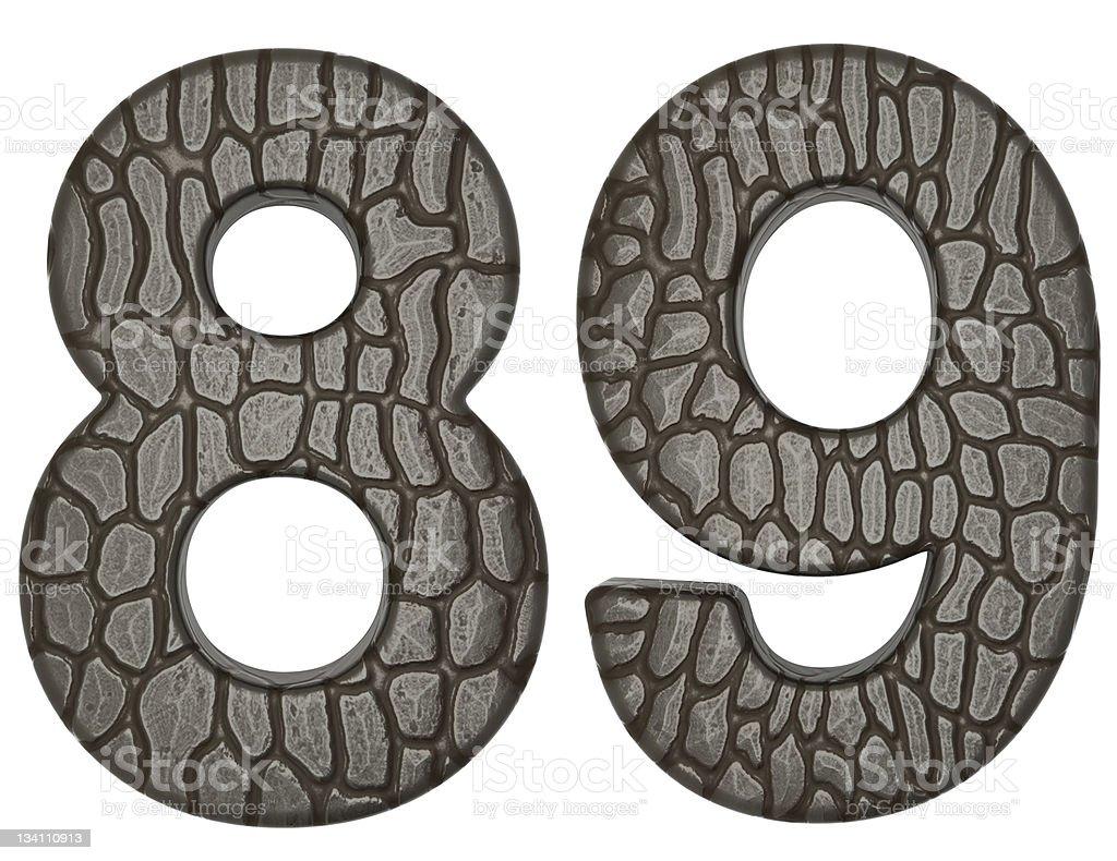 Alligator skin font 8 9 digits royalty-free stock photo