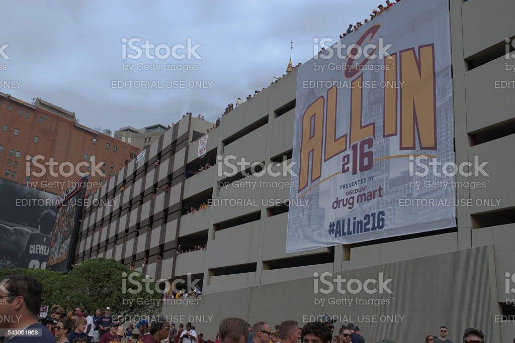 AllIn Banner on Parking Garage stock photo