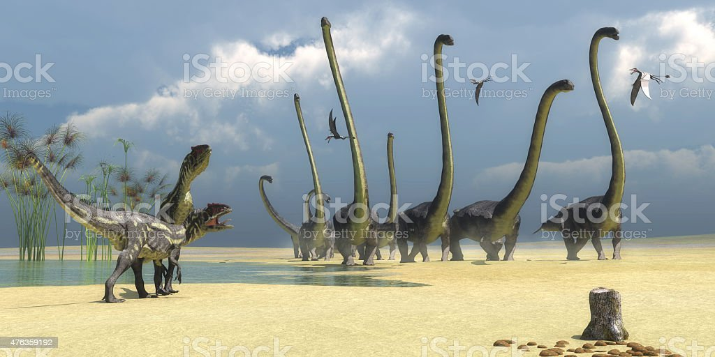 Allosaurus and Omeisaurus Dinosaurs stock photo