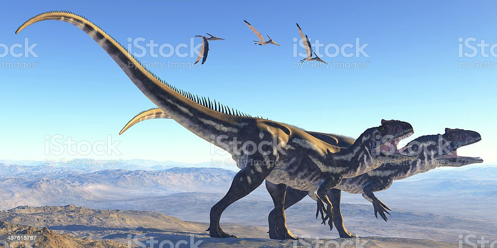 Allosaurus on Mountain stock photo