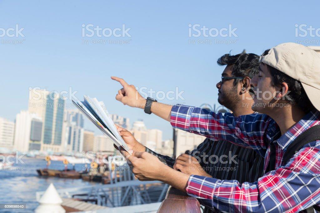 Allow me to show you the route to Deira Dubai stock photo