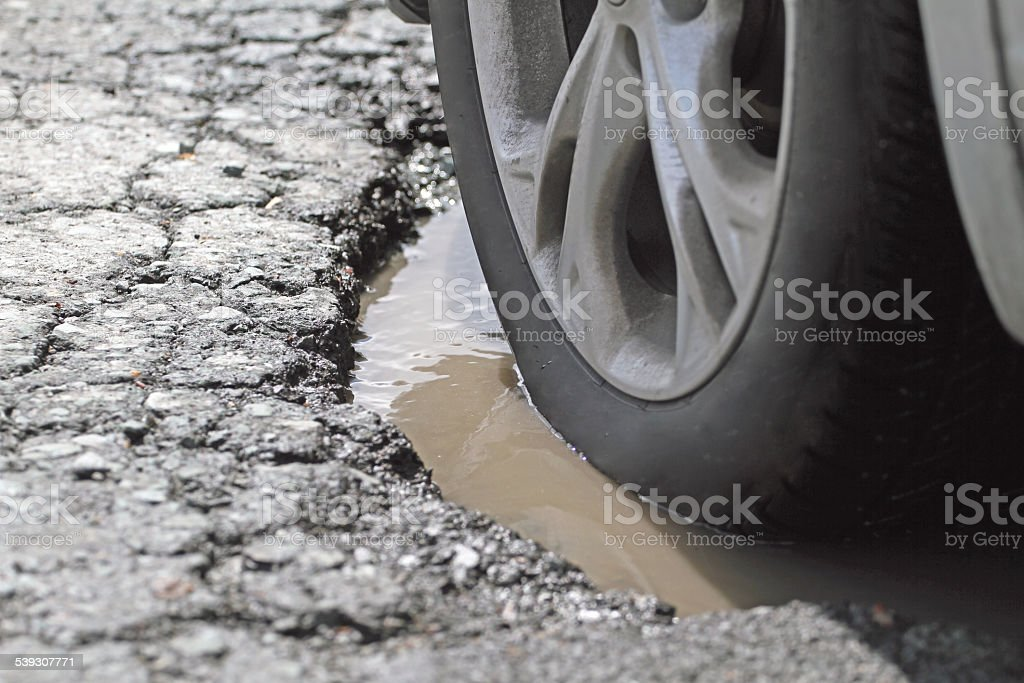 Alloy Wheel And Tire In A Pothole, Closeup stock photo