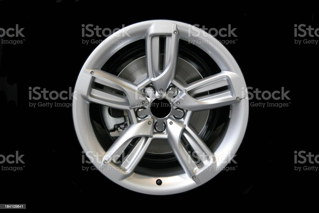 Alloy wheel, isolated on black royalty-free stock photo