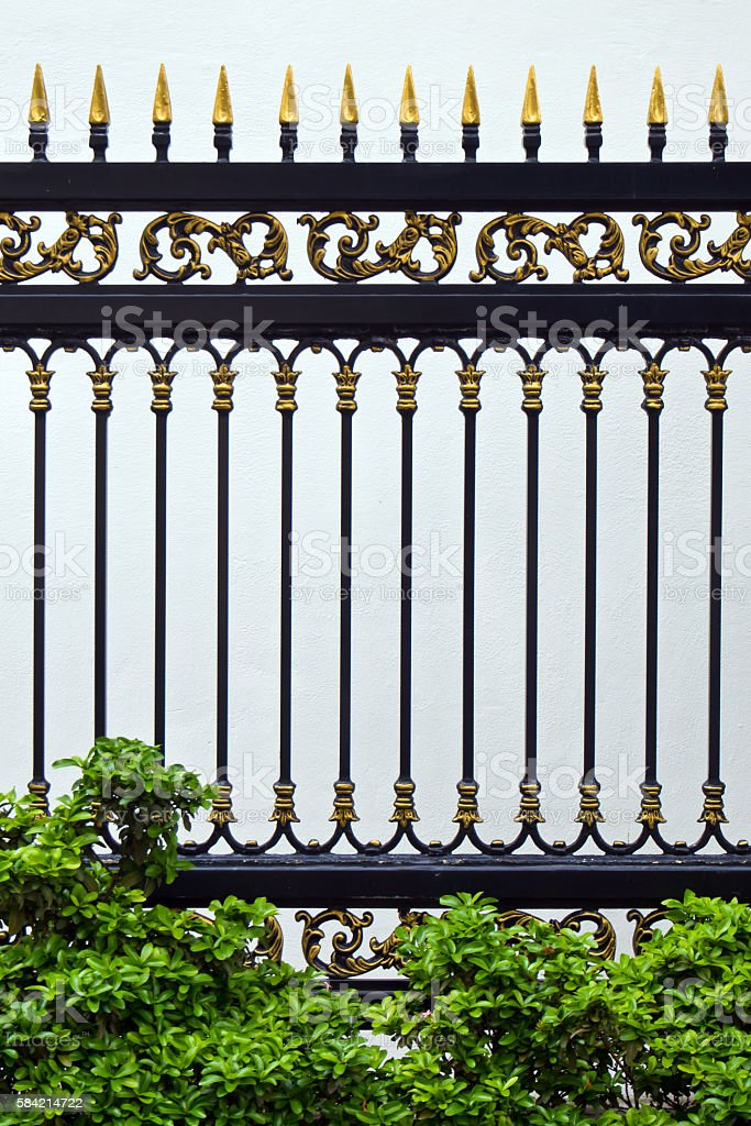 Alloys metal fence and Ornamental plants stock photo
