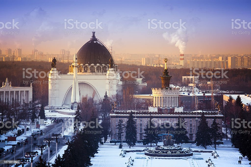 All-Russian Exhibition Centre (VDNKh) at sunset. Aerial view stock photo