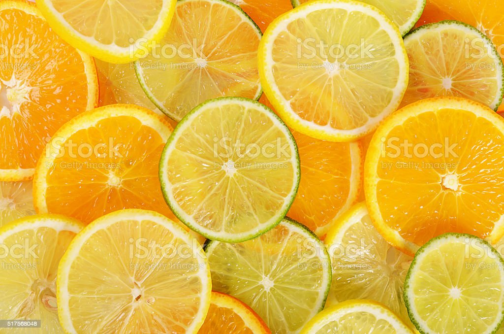 Allsorts from a citrus fruit close-up stock photo