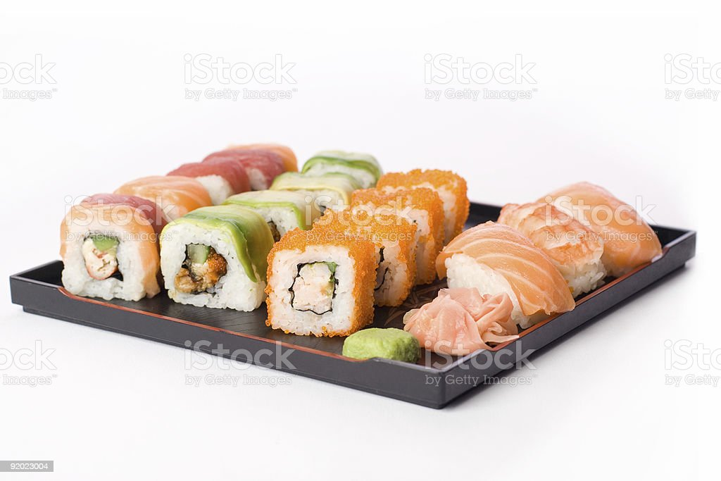 Allsorts sushi stock photo