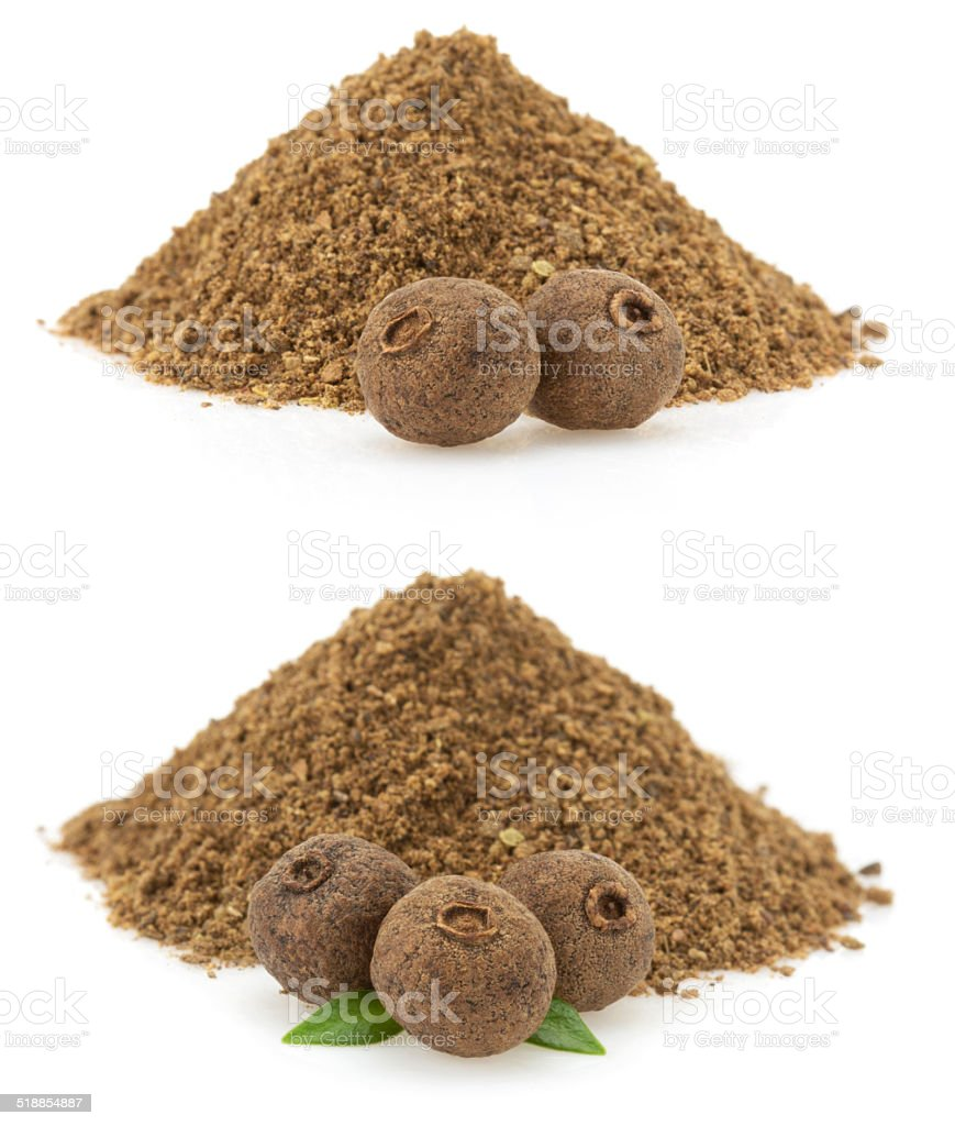 allspice on white background stock photo