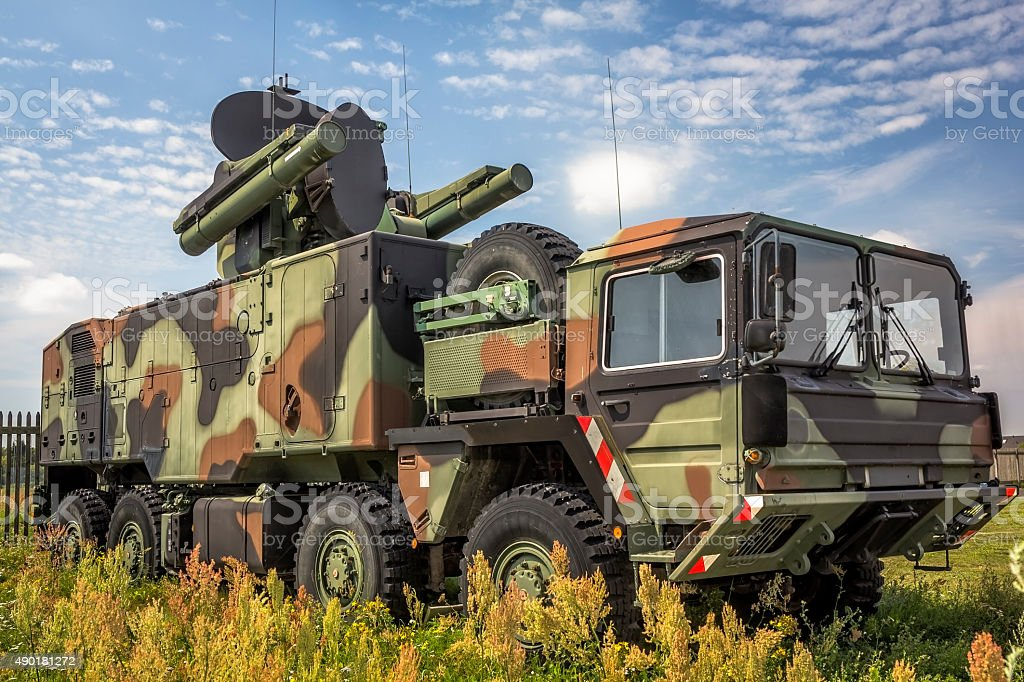 All-terrain truck with short-range air missile stock photo