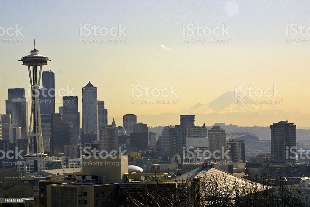 Alluring Seattle skyline with Mt. Rainier royalty-free stock photo