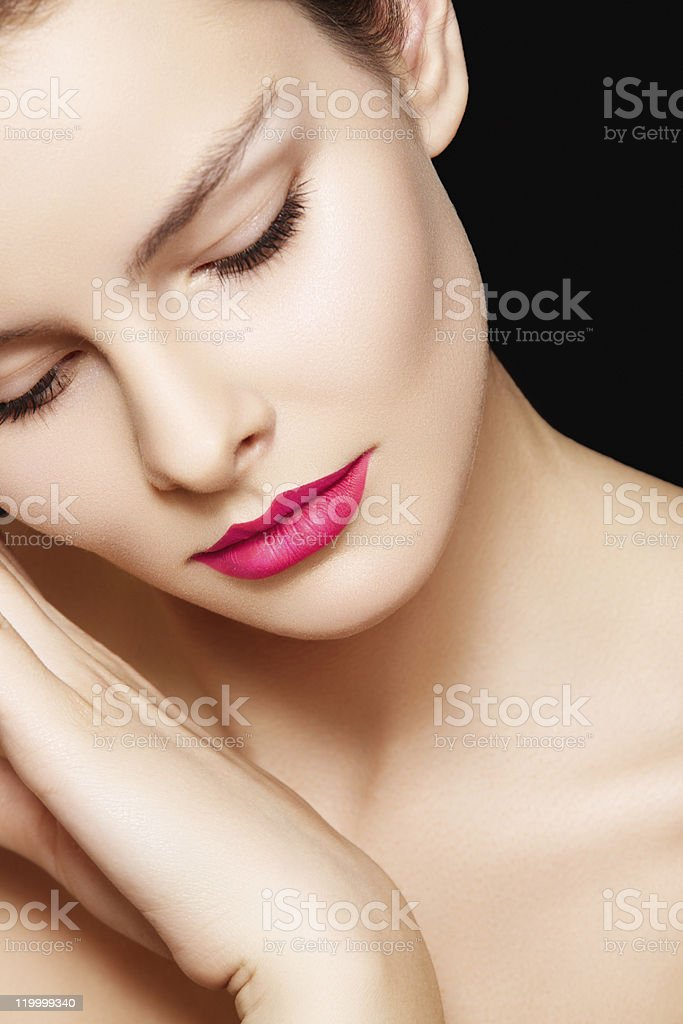 Alluring woman model with bright pink lips make-up royalty-free stock photo