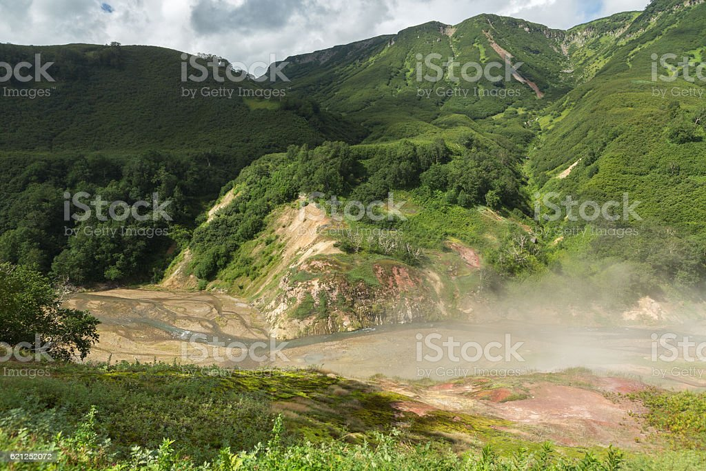 Alluvial plain at drying Geysernoye Lake in Valley of Geysers. stock photo