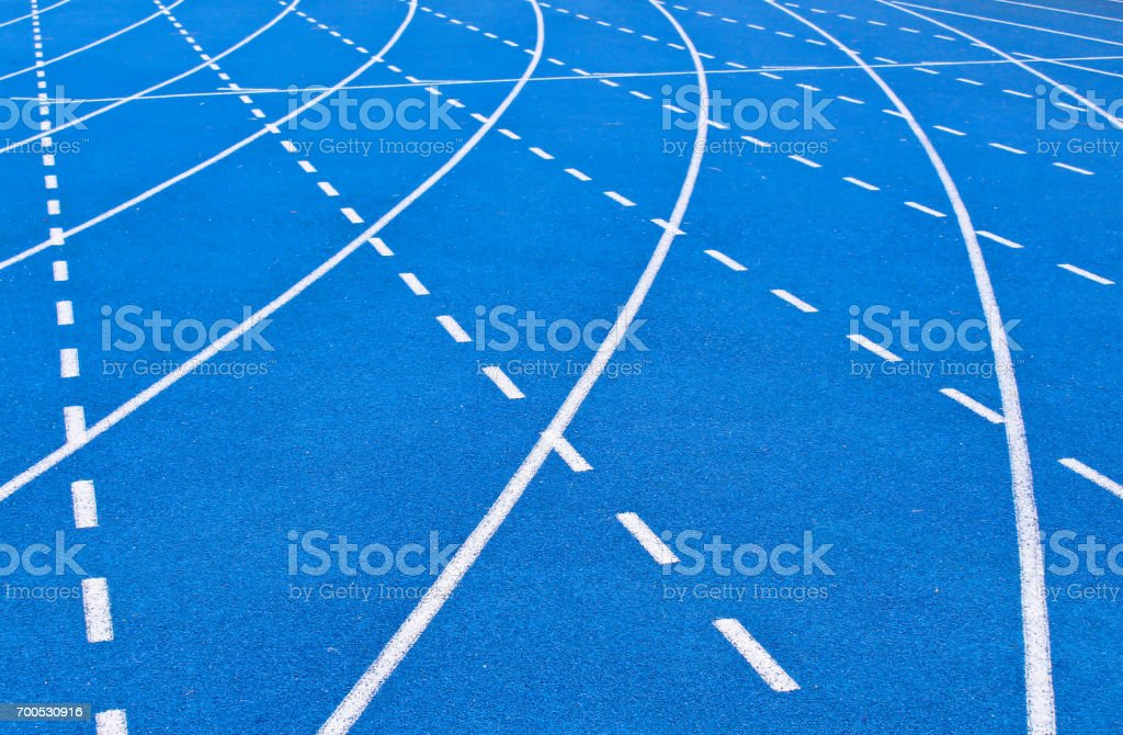 All-weather blue running track stock photo