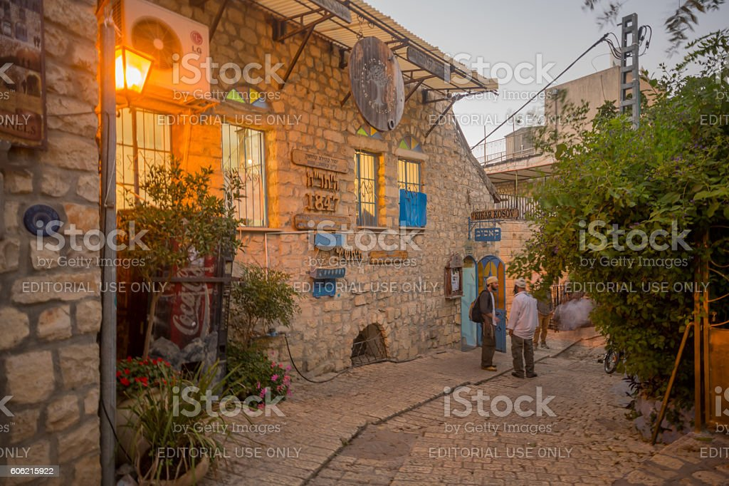 Ally with various signs, in Safed (Tzfat) stock photo