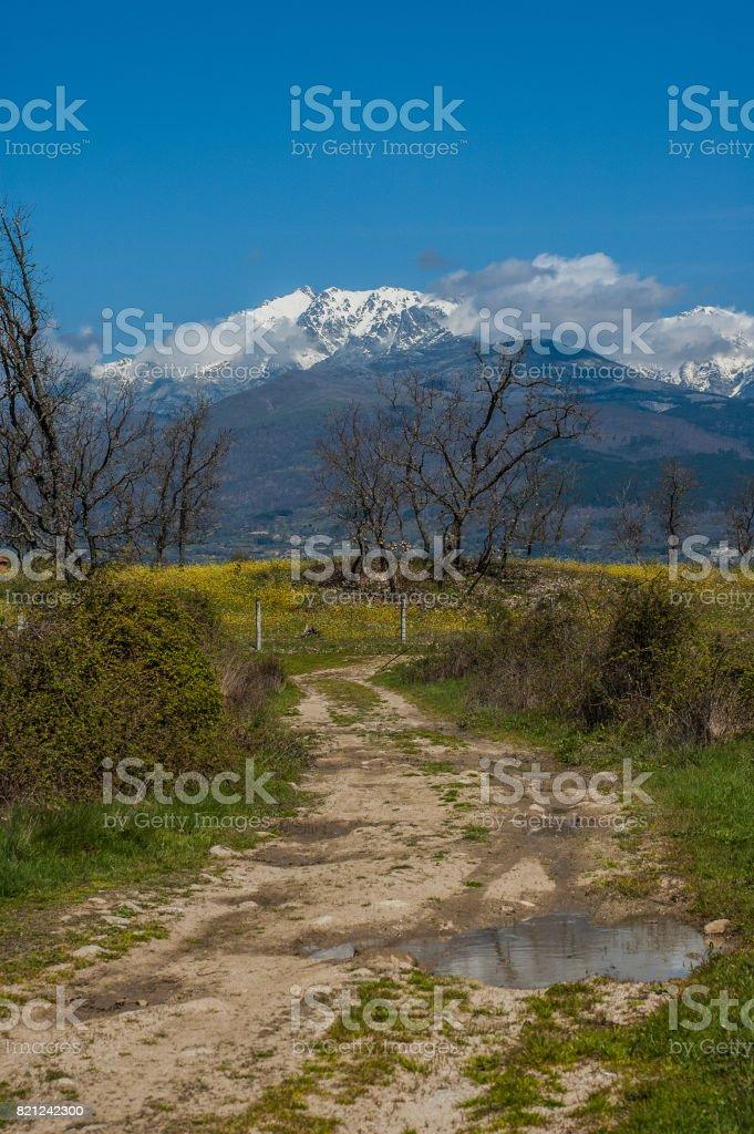 Almanzor peak from old road in Candeleda stock photo